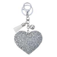 Nyckelring hjärta bling silver 2