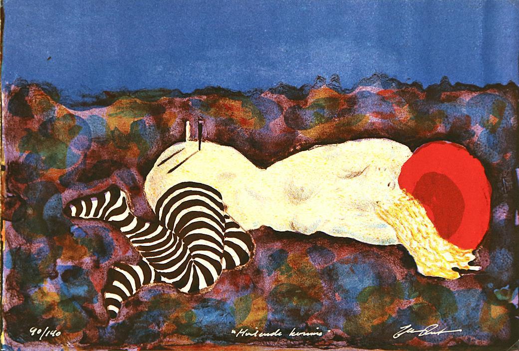 """""""Hvilende kvinne"""", litografi 21,5 x 31,5 cm."""