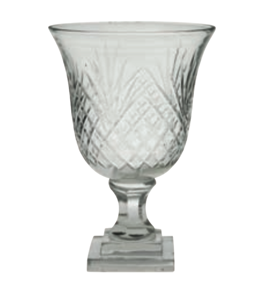 Hurricane vase/lykt i slipt glass 16,5x16,5x25cm
