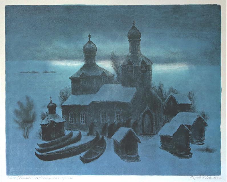 """""""Vinternatt- Finnmark"""", litografi"""