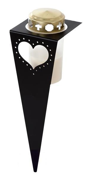 Gravspjut hjärta - svart