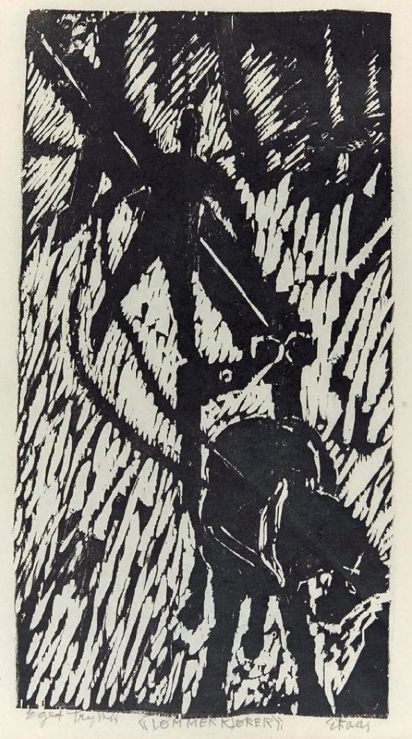 """""""Tømmerkjører"""", tresnitt eget trykk, 55 x 29 cm.,1990,"""