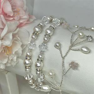 Alvine hårranke sølv/rosa