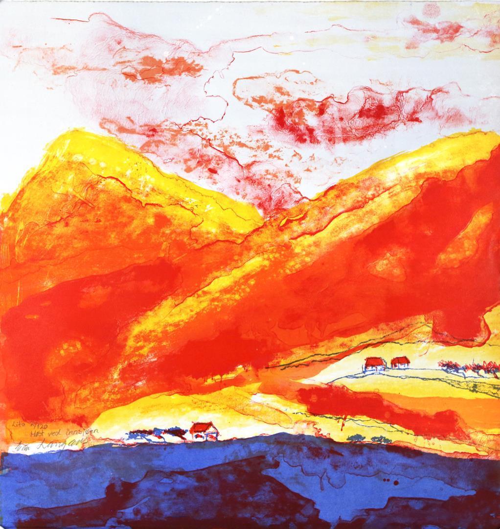 """Høst ved innsjøen"", litografi 61,5 x 58,5 cm."