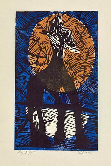 """""""Polarhund"""", fargetresnitt på tynt papir 1979, 38 x 24 cm."""