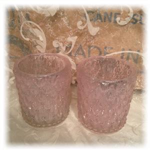 Rosa t-lysholdder i glass