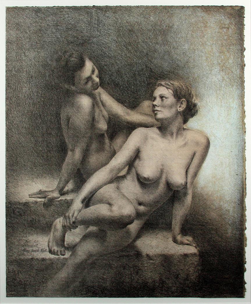 """Sisters"", litografi 60 x 50 cm"