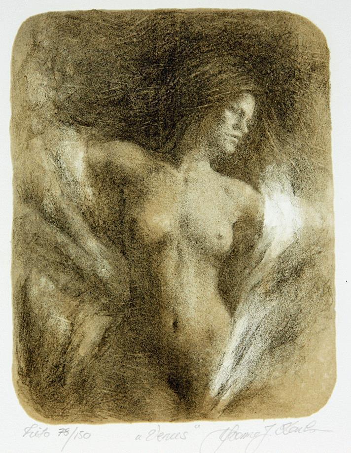 """""""Venus"""", litografi, 19 x 13 xm."""