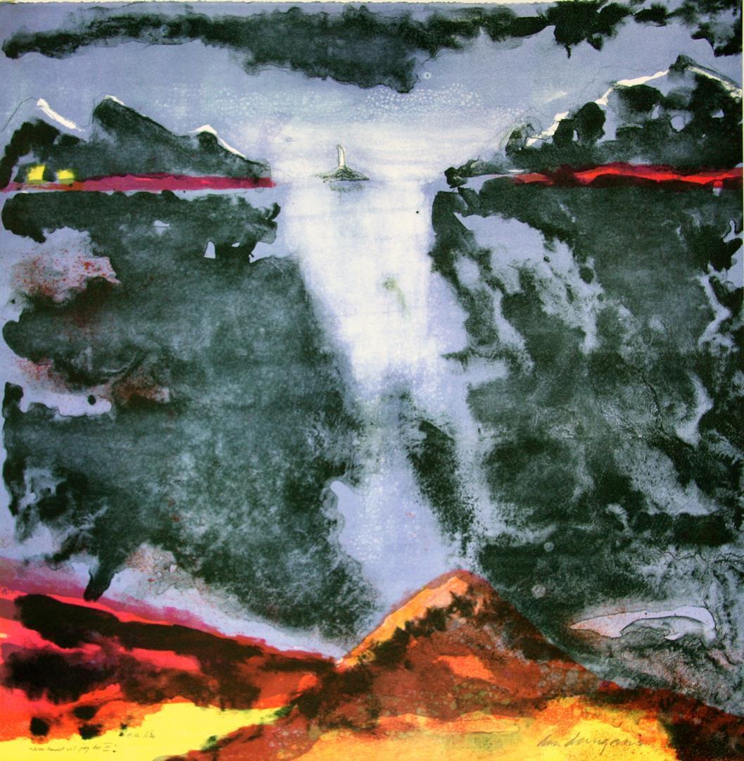 """""""Nær havet vil jeg bo"""", litografi 60 x 60 cm."""