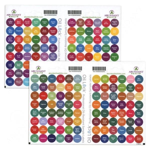 Etiketter för alla YL Oljor (192st enl. lista)
