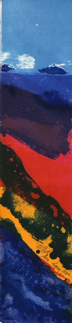 """Skyer"" litografi 15 x 61 cm."