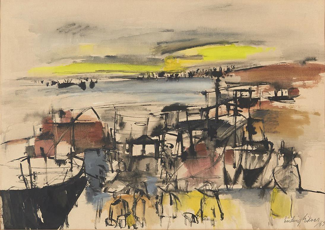 """""""Landskap"""" 1955, blandet teknikk på papir, 40 x 60 cm."""