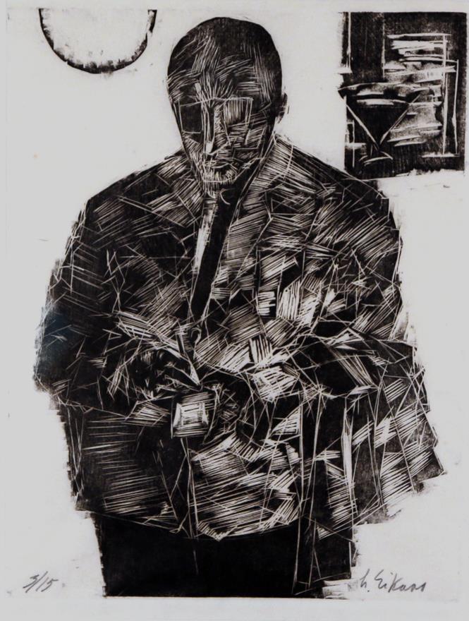 """""""Skrivende kelner"""", tresnitt, 3/15, 39 x 28 cm."""