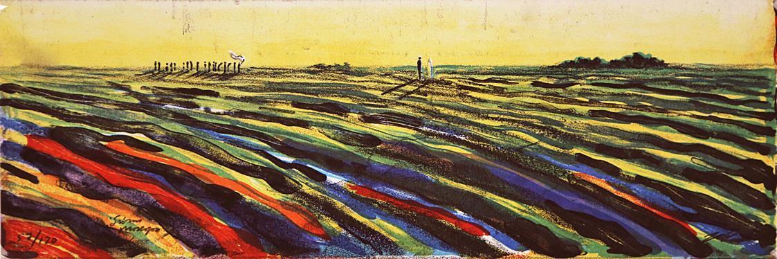 """""""Grønn prosesjon"""", litografi 13,4 x 40 cm."""