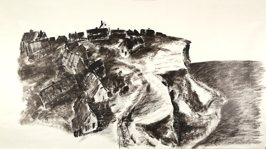 """""""Bovbjerg"""" oljemaleri på papir 1973, 50 x 100 cm."""