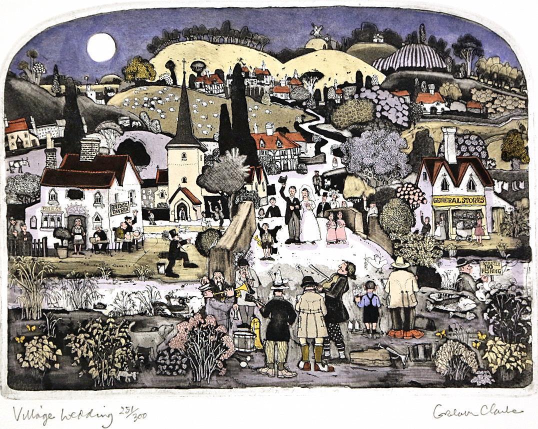 """Village Wedding"", håndkolorert etsing 33,4 x 25 cm."
