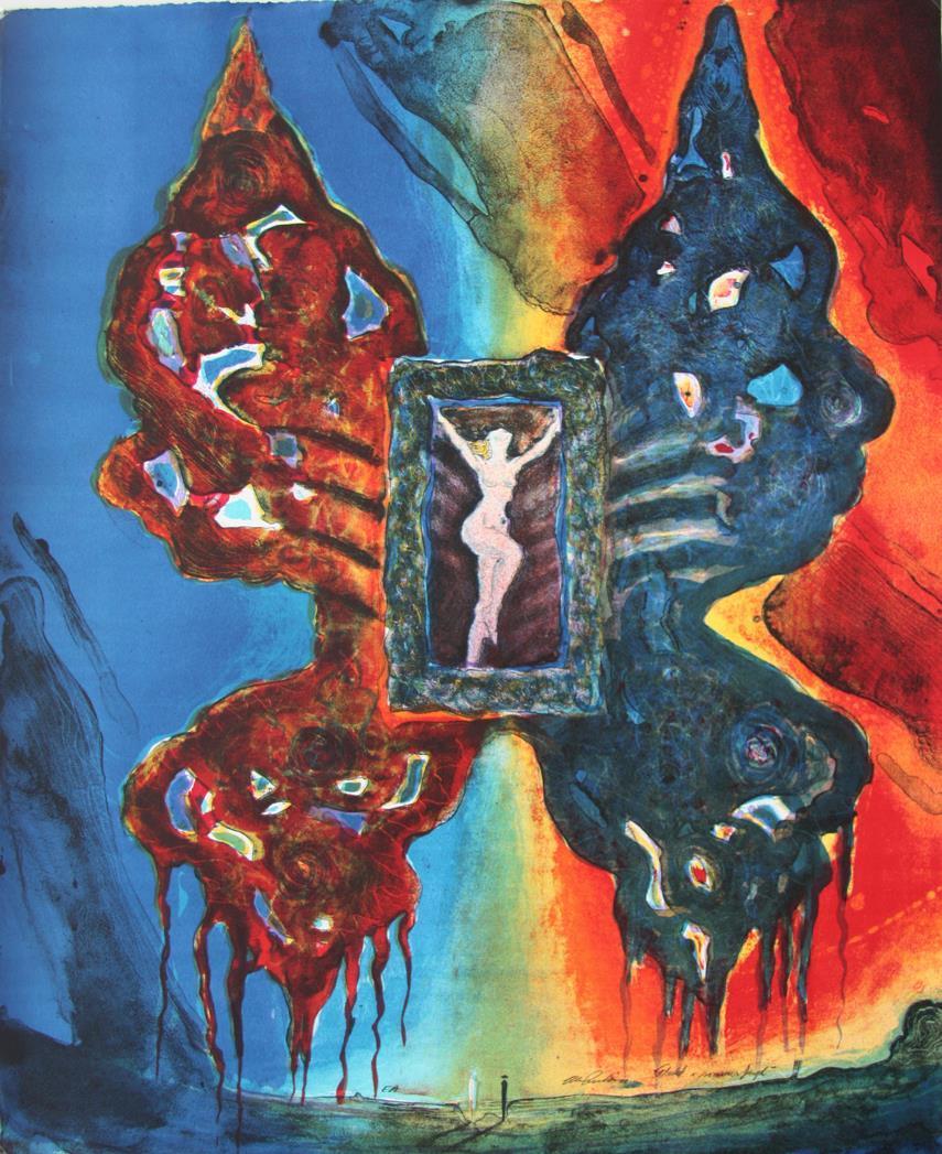 """""""Flukt i sommerfugl"""", litografi 61 X 50 cm."""