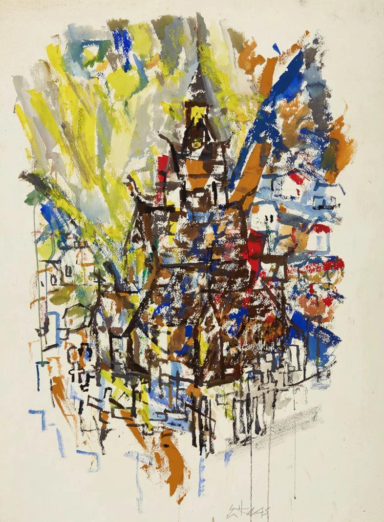 """Stavkirke"", akvarell, 73 x 50 cm."