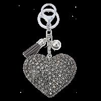 Nyckelring hjärta bling grå 1