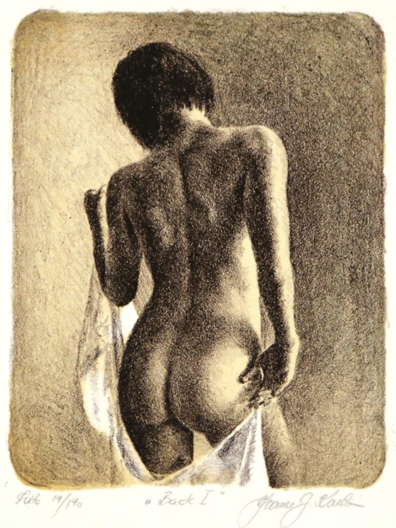 """Back I"", litografi, 18 x 14 cm."