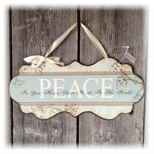 metallskilt peace 30x14cm