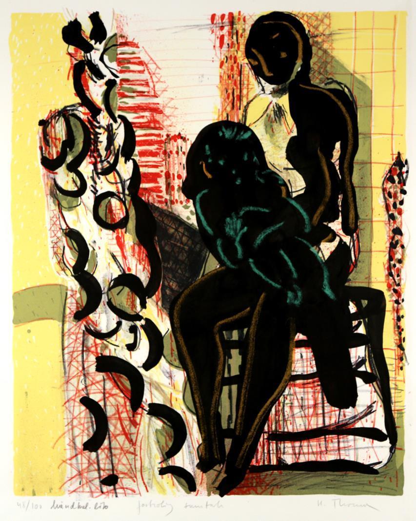 """Fortrolig samtale"" kolorert litografi, 56 x 48 cm."