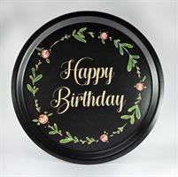 Bricka rund 31 cm, Happy birthday, svart/blomkrans