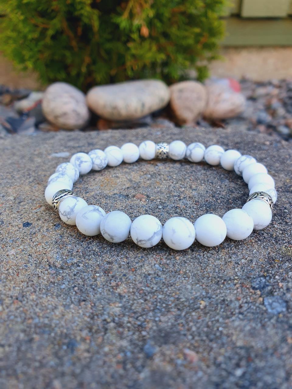 Armband herr vita pärlor /stenar Howlite