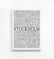 Trätavla A4, Stockholm, vit/svart text