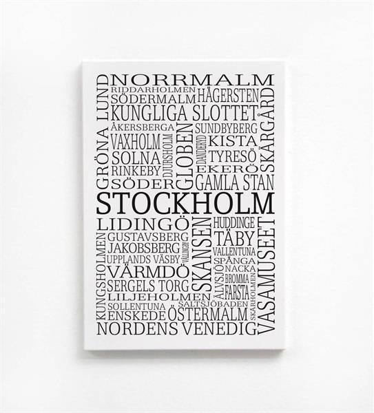 Trätavla A5, Stockholm, vit/svart text