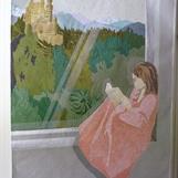 Flicka i fönster, applikation med fritt broderi, 64x90 cm