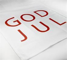 Kökshandduk, God Jul, vit/röd text