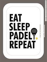 Emaljmugg, Padel repeat, vit/svart text
