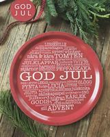 Bricka rund 31 cm, God Jul-ord, röd/vit text