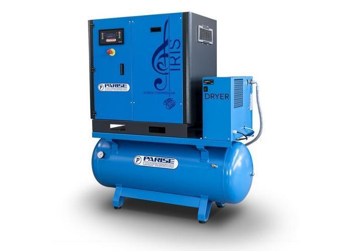 PARISE Ruuvikompressori 7,5 Kw, 1050L/min, 8bar, säiliöllä ja kuivaimella MLX10S270-D-08
