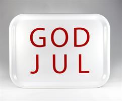 Bricka 27x20 cm, God Jul, vit/röd text