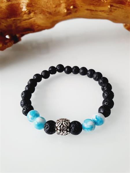 Herr armband lava och jade ljusblå