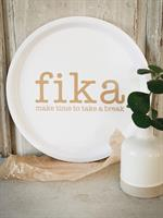 Bricka rund 31 cm, Make time FIKA, vit/guldtext