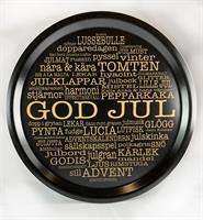 Bricka rund 31 cm, God Jul-ord, svart/guldtext