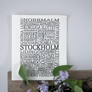 Tygkasse, Stockholm, natur/svart text