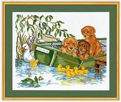 Hundvalpar i båt