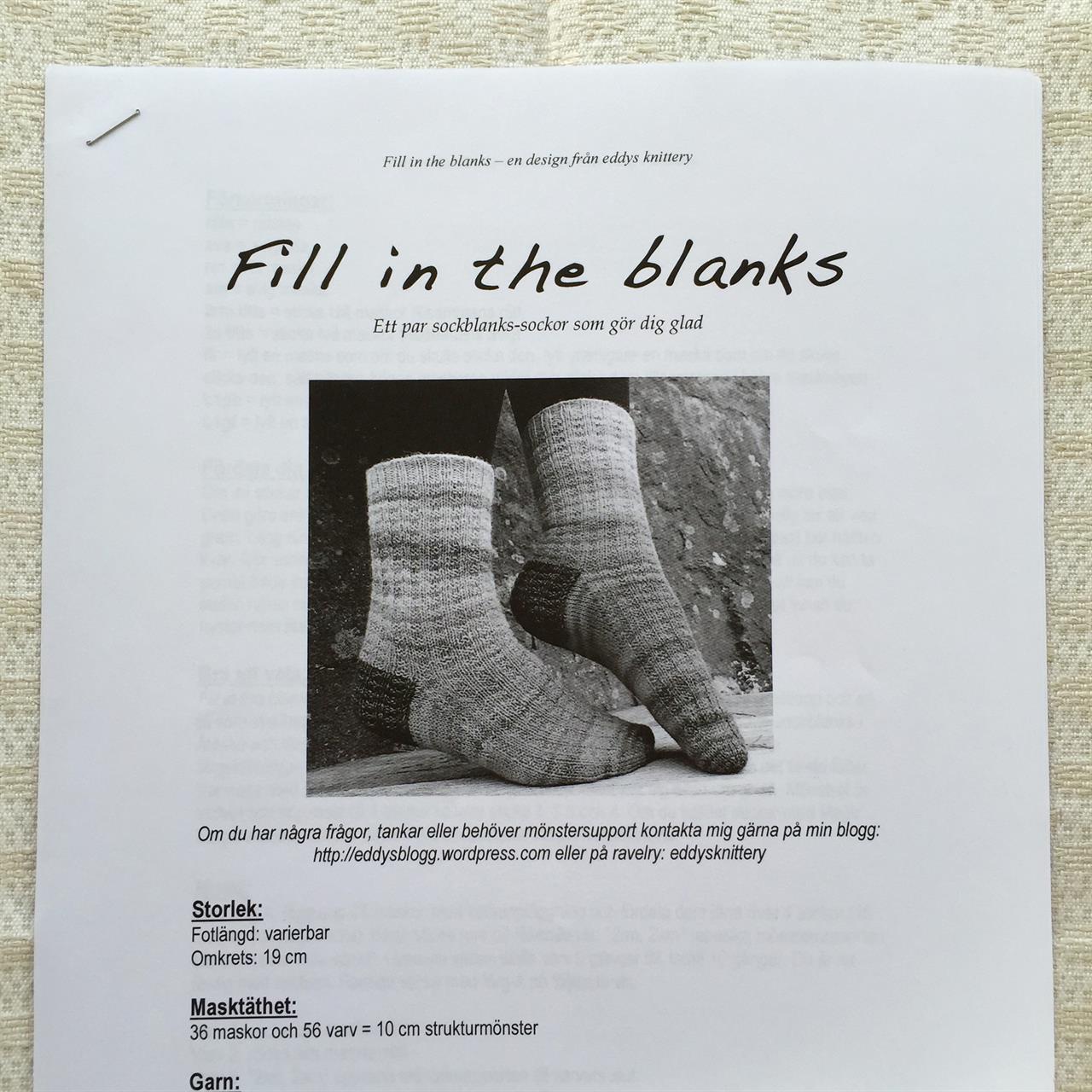 Fill in the blanks  Sockbeskrivning
