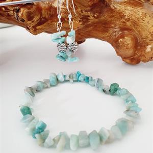 Smyckeset örhänge armband blågrön i sterlingsilver