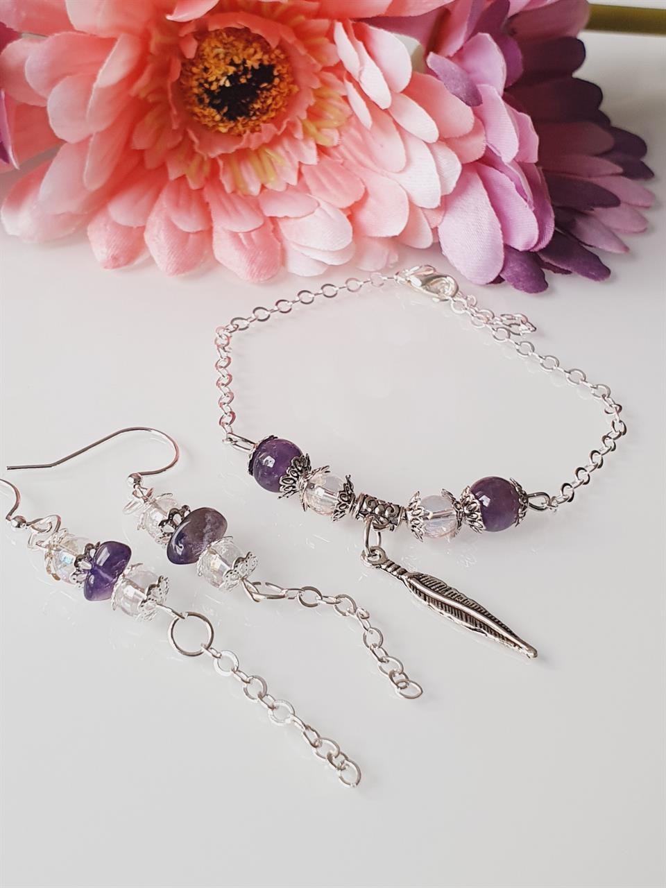 Smyckeset örhänge och armband /Ametist /Angel aura