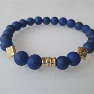 Armband Herr Lapis Lazuli ,guldpläterad tub