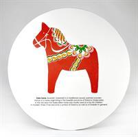 Grytunderlägg, Dala horse, vit/rött tryck