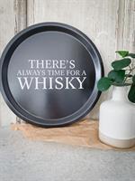 Bricka rund 31 cm, Whisky, svart/vit text