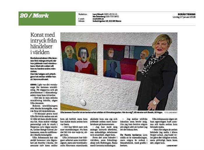 Ulla Jansson - Borås Tidning 2018-01-27