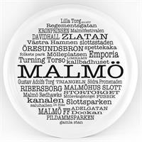 Bricka rund 31 cm, Malmö, vit/svart text