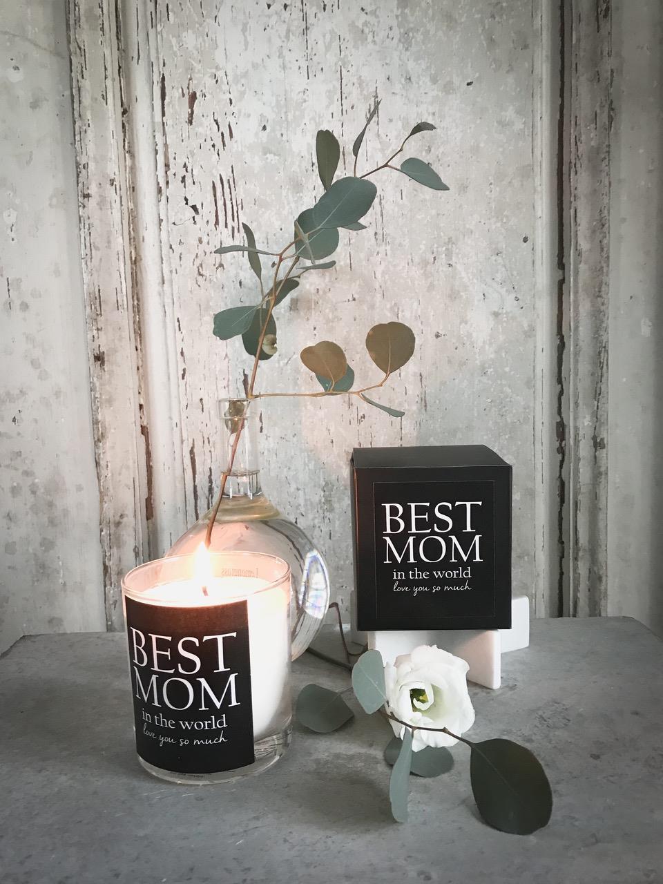 Doftljus, Best Mom, svart med vit text